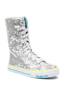 SKECHERS Sequin long high-top trainers 7-9 years