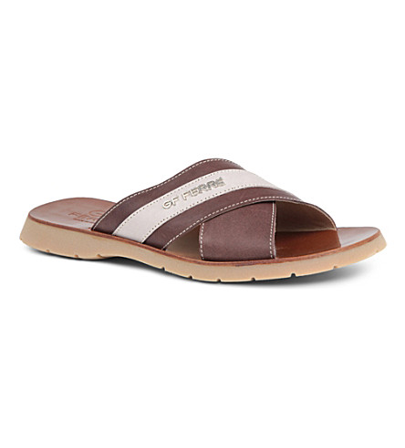 GF FERRE Leather slip-on sandals 7-12 years (Brown