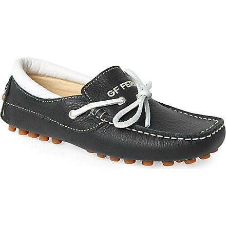 GF FERRE Luxury leather loafers 7-12 years (Black/white