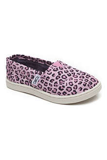 TOMS Canvas pink leopard slip-on shoes 1-13 years