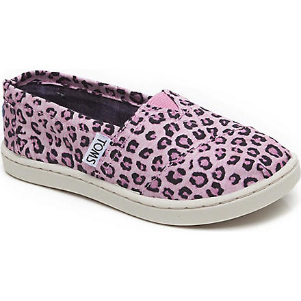 TOMS Canvas pink leopard slip-on shoes 1-13 years (Pink