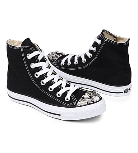 CM COUTURE Embellished high-top trainers 6-10 years (Black