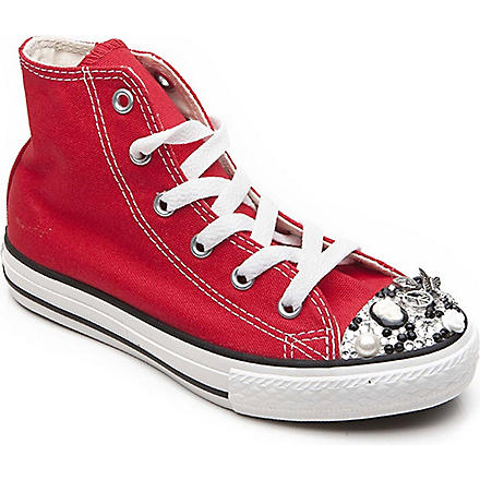 CM COUTURE Embellished high-top trainers 6-10 years (Red