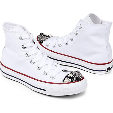 CM COUTURE Embellished high-top trainers 6-10 years (White