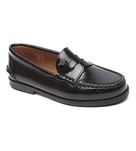 ARMANI JUNIOR Armani leather loafers 1-13 years (Black