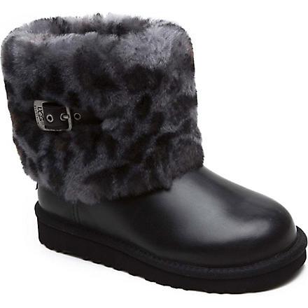 UGG Ellee Animal sheepskin boots 7-11 years (Black