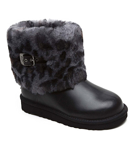 UGG Ellee Animal sheepskin boots 7-11 years (Black