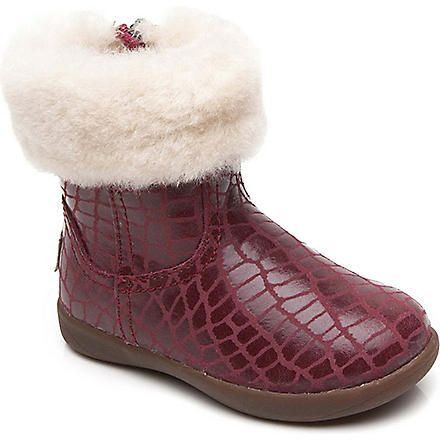 UGG Jorie croc-print sheepskin boots 2-5 years (Red