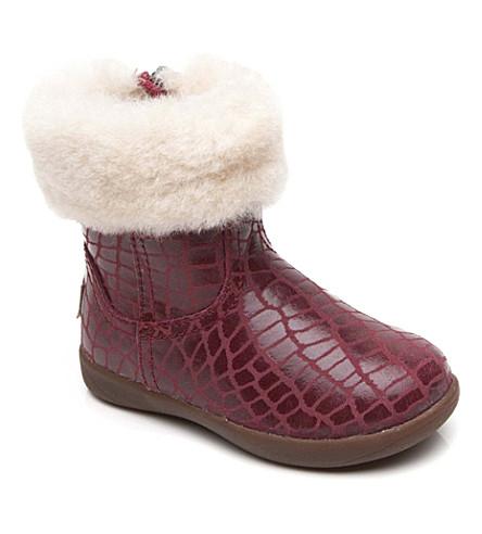 UGG Jorie croc-print sheepskin boots 2-5 years (Red