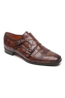 SANTONI Croc-embossed buckle shoes 8-12 years