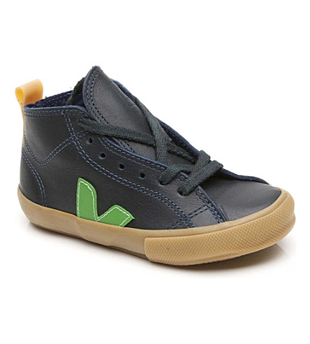 VEJA Leather high-top lace-up trainers 6-9 years (Navy