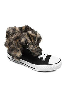 CONVERSE Faux-fux leopard-lined trainers 7-11 years