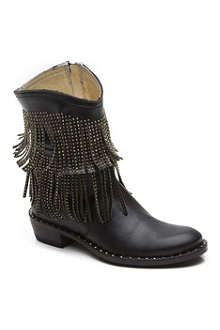 VERSACE Fringed stud leather boots 7-10 years