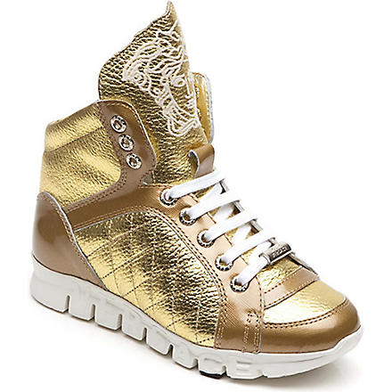 VERSACE Hi-top trainers (Gold