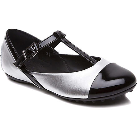 TODS Metallic t-bar flat shoes 6-9 years (Black
