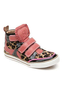 SUPERTRASH FTW Leopard print pink-trimmed trainers 7-11 years