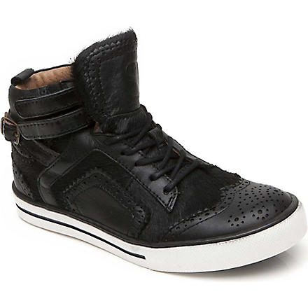 SUPERTRASH FTW Ponyskin buckled brogue trainers 7-11 years (Black
