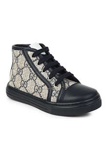 GUCCI High-top leather-detail logo trainers 2-4 years