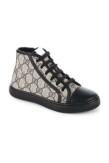 GUCCI High-top leather-detail logo trainers 6-8 years