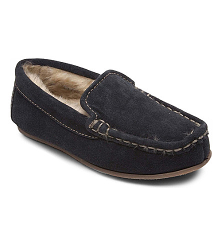 RUBY & ED Suede faux-fur-lined mocassins 5-11 years (Navy