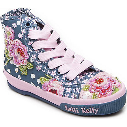 LELLI KELLY Bead and sequin embellished high-top trainers 6 months-12 years (Denim