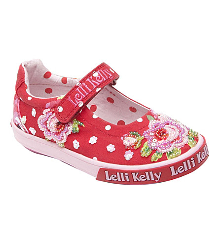 LELLI KELLY Embellished canvas pumps 9 months-10 years (Red