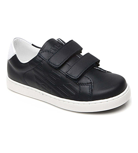 ARMANI JUNIOR Leather double-strap trainers 2-10 years (Navy