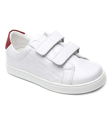 ARMANI JUNIOR Leather double-strap trainers 2-10 years (White
