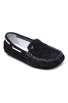 ARMANI JUNIOR Logo-print suede loafers 6-12 years