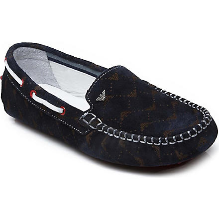 ARMANI JUNIOR Logo-print suede loafers 6-12 years (Navy