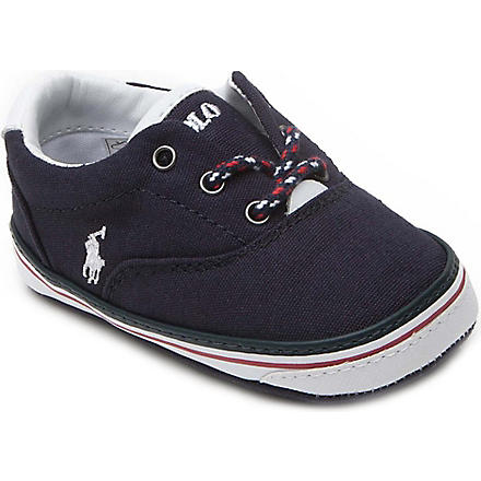 RALPH LAUREN Vaughn canvas trainers 6-9 months (Navy