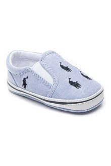 RALPH LAUREN Bal Harbour slip-on canvas trainers 6-9 months