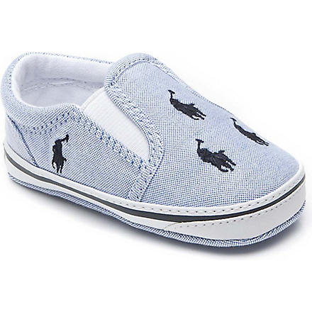 RALPH LAUREN Bal Harbour slip-on canvas trainers 6-9 months (Blue