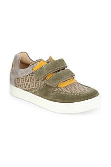 FENDI Branded suede and canvas trainers 5-8 years