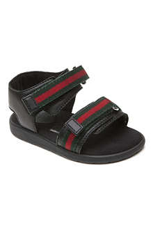 GUCCI Leather web detail sandals 12 months-9 years