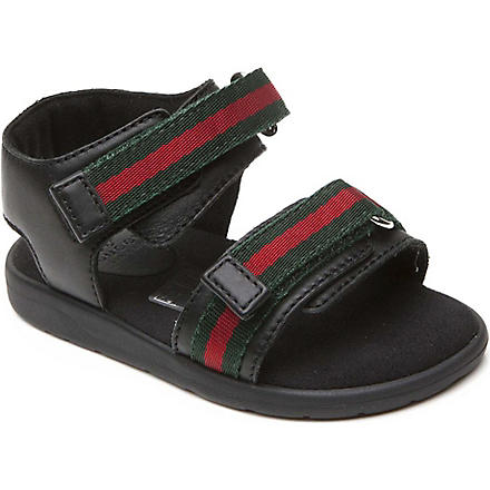 GUCCI Leather web detail sandals 12 months-9 years (Black