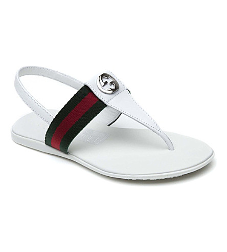 GUCCI Web-detail leather sandals 6-8 years (White