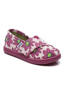 TOMS Pink daisy canvas shoes 2-11 years