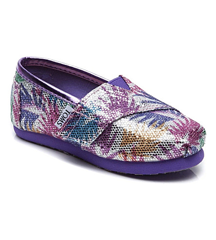 TOMS Palm print glitter classic shoes 2-11 years (Silver