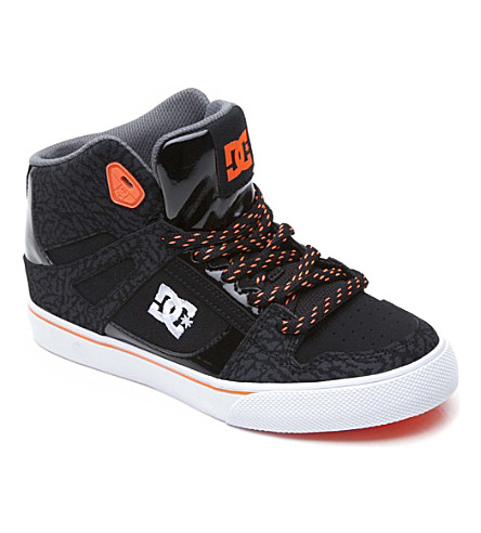 DC Spartan hi-top skate trainers 6-12 years (Black