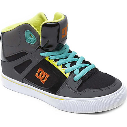 DC Spartan hi-top skate trainers 6-12 years (Grey