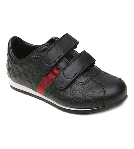 GUCCI Leather web-detail trainers 4-9 years (Black