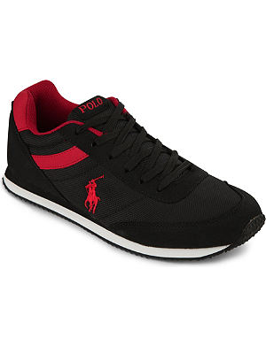 RALPH LAUREN Suede-trimmed canvas lace-up trainers 9-12 years