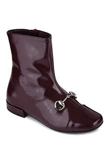GUCCI Patent leather horsebit detail boots
