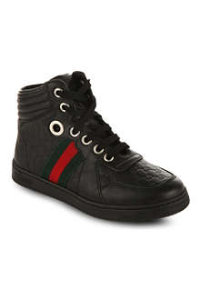 GUCCI High-top leather trainers 6-8 years