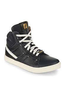 FENDI Leather high-top trainers