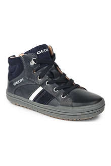 GEOX Lace-up leather trainers 7-11 years