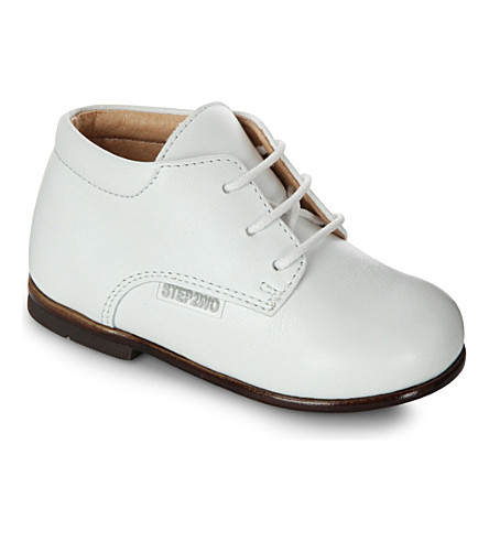 STEP2WO Leather lace-up booties 6 months-3 years (White+leather