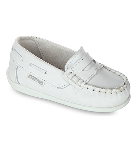 STEP2WO Ewan leather loafers 6 months-1 year (White+leather