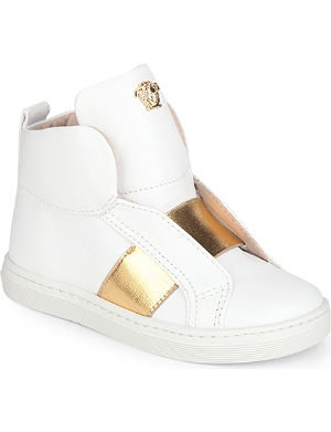 VERSACE Leather unisex high top trainers 3-11 years